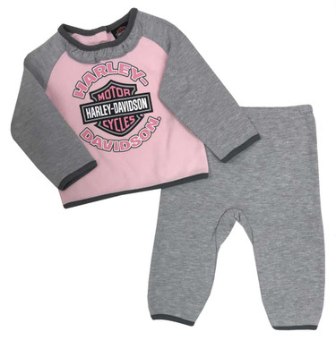 Harley-Davidson Baby Girls' 2-Piece Knit Top w/ 3D Bear Fleece Pants 2014929 - Wisconsin Harley-Davidson