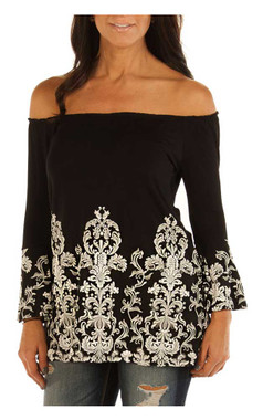 Liberty Wear Women's Embroidered Ornate Scrolls Long Sleeve Tunic, Black - Wisconsin Harley-Davidson