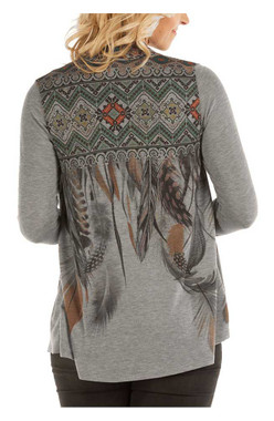 Liberty Wear Women's Feather Tribal Waterfall Long Sleeve Cardigan, Gray - Wisconsin Harley-Davidson