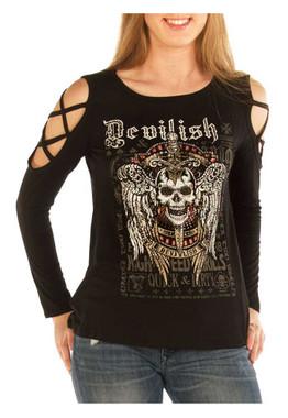Liberty Wear Women's Devilish Raven Embellished Cold Shoulder Top, Black - Wisconsin Harley-Davidson
