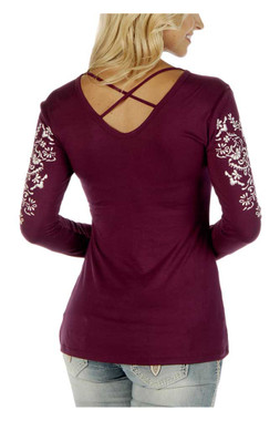 Liberty Wear Women's Crossed Elegance Embroidered V-Neck Long Sleeve Shirt, Red - Wisconsin Harley-Davidson