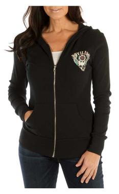 Liberty Wear Women's Devilish Embellished Zip-Up Light-Weight Hoodie, Black - Wisconsin Harley-Davidson