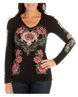 Liberty Wear Women's Rose & Heart Embellished V-Neck Long Sleeve Shirt, Black - Wisconsin Harley-Davidson