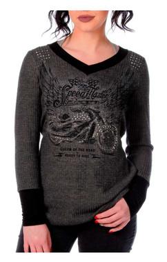Liberty Wear Women's Speed Master Embellished Thermal Long Sleeve Shirt, Gray - Wisconsin Harley-Davidson