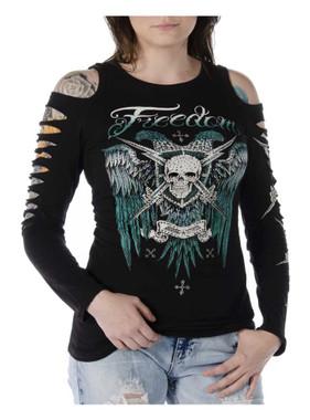 Liberty Wear Women's Tread Lightly Embellished Cold Shoulder Long Sleeve Shirt - Wisconsin Harley-Davidson