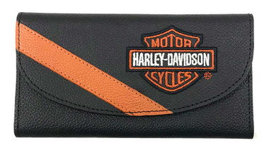 Harley-Davidson Women's Vintage B&S Embroidery Leather Wallet VBS6267-ORGBLK - Wisconsin Harley-Davidson