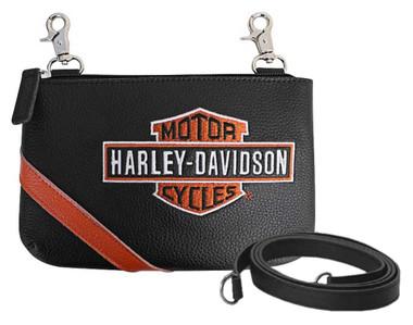 Harley-Davidson Women's Vintage B&S Embroidery Hip Bag w/ Strap VBS6243-ORGBLK - Wisconsin Harley-Davidson