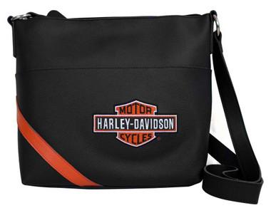 Harley-Davidson Womens Vintage Orange B&S Embroidery Bucket Purse VBS6214-ORGBLK - Wisconsin Harley-Davidson