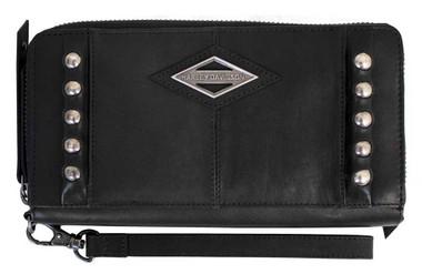 Harley-Davidson Women's Ball & Chain Zip Around Clutch Wallet BC6172L-BLACK - Wisconsin Harley-Davidson