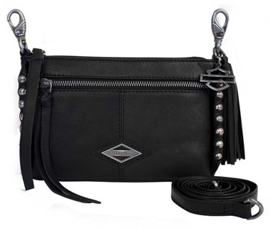 Harley-Davidson Women's Ball & Chain Horizontal Hip Bag w/ Strap BC6145L-BLACK - Wisconsin Harley-Davidson