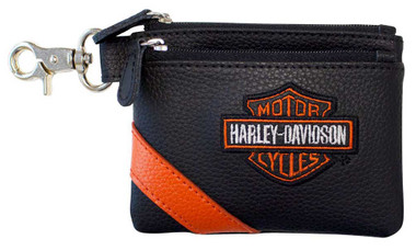 Harley-Davidson Women's Vintage B&S Embroidery Leather Coin Pouch VBS6281-ORGBLK - Wisconsin Harley-Davidson