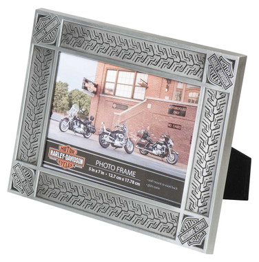 Harley-Davidson Tire Tread Tin Plated Picture Frame -Holds 5 x 7 Photo HDX-99171 - Wisconsin Harley-Davidson