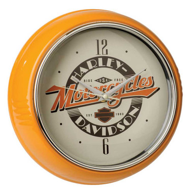 Harley-Davidson Ride Free Retro Metal Diner Clock - Orange Housing HDL-16643 - Wisconsin Harley-Davidson