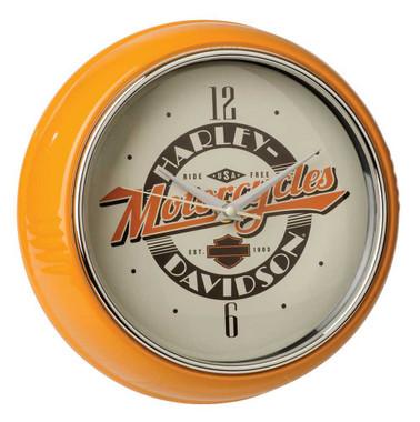 Harley-Davidson Ride Free Retro Metal Diner Clock - Orange Housing HDL-16643 - Wisconsin Harley-Davidson