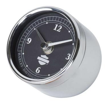 Harley-Davidson Speedometer Desk Clock, Chrome Plated - 3.375 in. HDL-20119 - Wisconsin Harley-Davidson