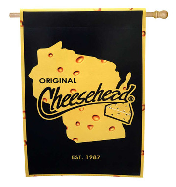Original Cheesehead Decorative Suede House Flag, 29 x 43 inches 13S5070 - Wisconsin Harley-Davidson