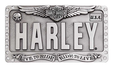 Harley-Davidson Women's Embellished License Plate Belt Buckle, Antique Silver - Wisconsin Harley-Davidson