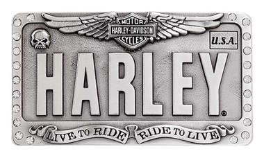 Harley-Davidson Women's Embellished License Plate Belt Buckle, Antique Silver - Wisconsin Harley-Davidson