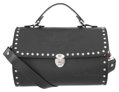 Harley-Davidson Women's Winged B&S Leather Cylinder Purse, Black HDWBA11469 - Wisconsin Harley-Davidson