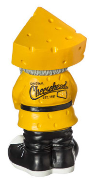 Original Cheesehead Sculpted Cheese Themed Garden Gnome, 4 x 4.25 x 9.5 inches - Wisconsin Harley-Davidson