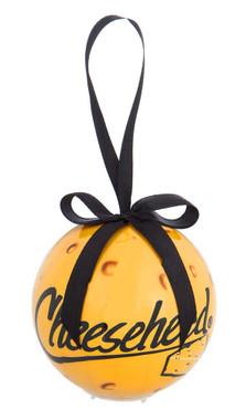Original Cheesehead LED Ball Hanging Ornament w/ Black Ribbon - Gold 3OT5070LED - Wisconsin Harley-Davidson