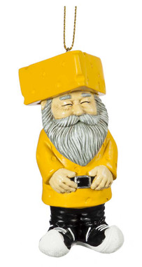 Original Cheesehead Sculpted Cheesehead Gnome Hanging Ornament - Gold 3OT5070GM - Wisconsin Harley-Davidson