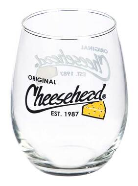 Original Cheesehead Stemless Wisconsin Wine Glass - Clear Glass, 17 oz. 3GS5070 - Wisconsin Harley-Davidson