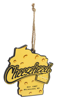 Original Cheesehead Wisconsin State Cheese Themed Ornament, 5 x 5inch 3OT5070WLO - Wisconsin Harley-Davidson