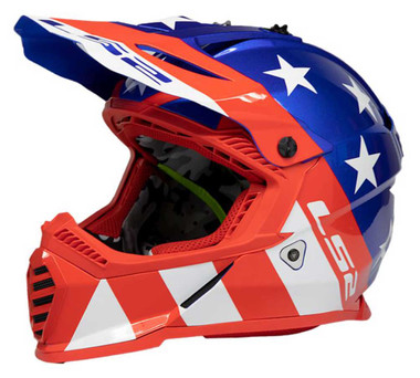 LS2 Helmets Full Face Gate Stripes Motorcycle Helmet, Red/White/Blue 437G-125 - Wisconsin Harley-Davidson