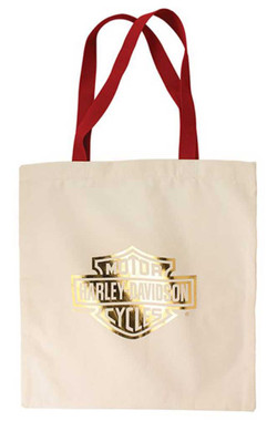 Harley-Davidson Women's Gold Bar & Shield Cotton Tote Bag w/ Red Handles TB34604 - Wisconsin Harley-Davidson