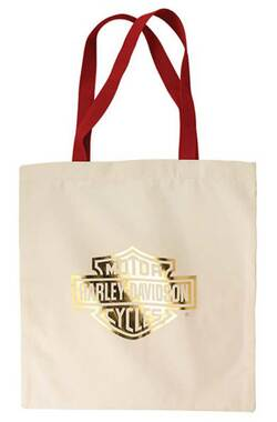 Harley-Davidson Women's Gold Bar & Shield Cotton Tote Bag w/ Red Handles TB34604 - Wisconsin Harley-Davidson