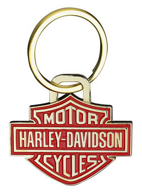 Harley-Davidson 2D Die Struck Bar & Shield Keychain, Gold & Red Finish KY34626 - Wisconsin Harley-Davidson