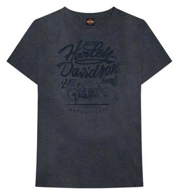 Harley-Davidson Men's Modal Tonal Short Sleeve Crew-Neck T-Shirt, Washed Blue - Wisconsin Harley-Davidson