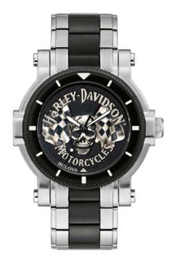 Harley-Davidson Men's Skull & Flags Stainless Steel Watch, Silver/Black 78A124 - Wisconsin Harley-Davidson