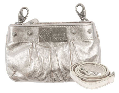 JENTOU Women's Gabby Metallic Leather Hip Bag w/ Detachable Strap JT7673-SILVER - Wisconsin Harley-Davidson