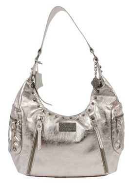 JENTOU Women's Diane Metallic Full-Grain Leather Satchel Purse JT7627-SILVER - Wisconsin Harley-Davidson