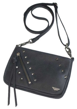 JENTOU Women's Kat Stonewash Leather Crossbody Purse - Black JEN88008-BLACK - Wisconsin Harley-Davidson