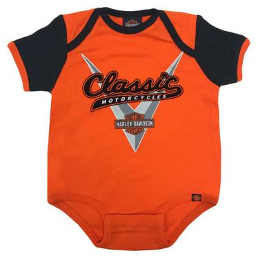 Harley-Davidson Baby Boys' Classic Colorblocked Newborn Creeper,Orange S9LBL53HD - Wisconsin Harley-Davidson