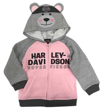 Harley-Davidson Little Girls' Bear Hood Fleece Toddler Hoodie,Gray/Pink 6524915 - Wisconsin Harley-Davidson