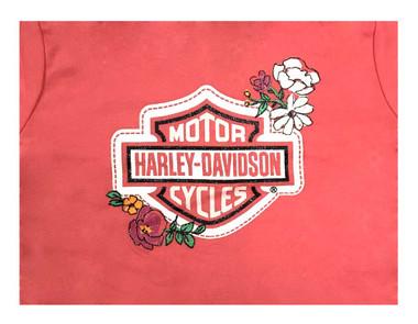 Harley-Davidson Little Girls' Glitter Floral Zip-Up Toddler Hoodie, Pink 6521739 - Wisconsin Harley-Davidson