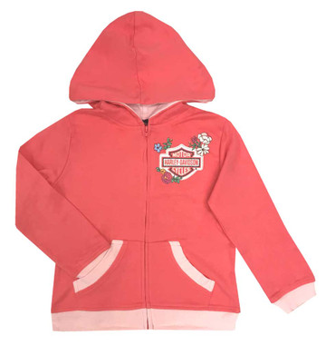 Harley-Davidson Little Girls' Glitter Floral Zip-Up Toddler Hoodie, Pink 6521739 - Wisconsin Harley-Davidson