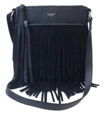 JENTOU Women's Audrey Full-Grain Fringe Leather Crossbody Purse JEN89909-BLACK - Wisconsin Harley-Davidson