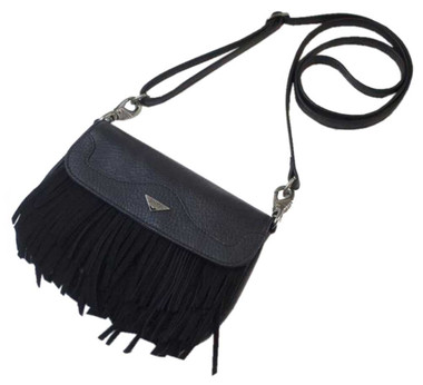 JENTOU Women's Kristin Full-Grain Leather Fringe Crossbody Purse JEN89287-BLACK - Wisconsin Harley-Davidson
