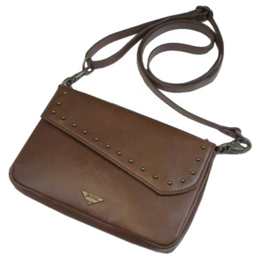 JENTOU Women's Ella Leather Crossbody Purse w/Brass Studs - Brown JEN88252-BROWN - Wisconsin Harley-Davidson