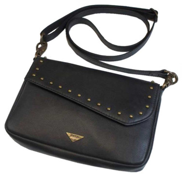 JENTOU Women's Ella Leather Crossbody Purse w/Brass Studs - Black JEN88252-BLACK - Wisconsin Harley-Davidson
