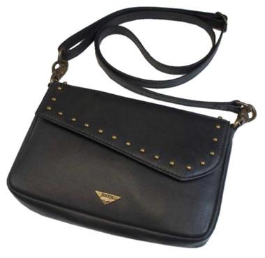 JENTOU Women's Ella Leather Crossbody Purse w/Brass Studs - Black JEN88252-BLACK - Wisconsin Harley-Davidson