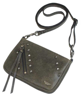 JENTOU Women's Kat Stonewash Leather Crossbody Purse - Tan JEN88008-TAN - Wisconsin Harley-Davidson