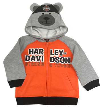 Harley-Davidson Little Boys' Bear Hood Fleece Toddler Hoodie,Gray/Orange 6574907 - Wisconsin Harley-Davidson