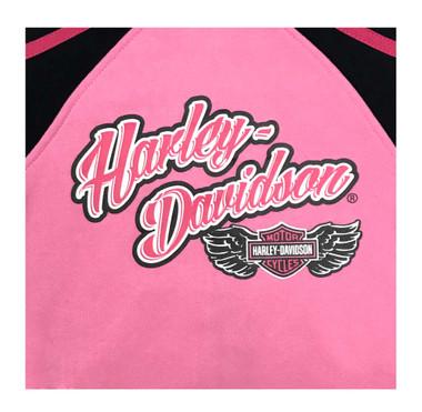 Harley-Davidson Little Girls' Colorblocked Fleece Zip-Up Hoodie, Pink 6523871 - Wisconsin Harley-Davidson