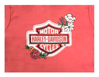 Harley-Davidson Big Girls' Glitter B&S Floral Zip-Up Hoodie - Pink 6541739 - Wisconsin Harley-Davidson